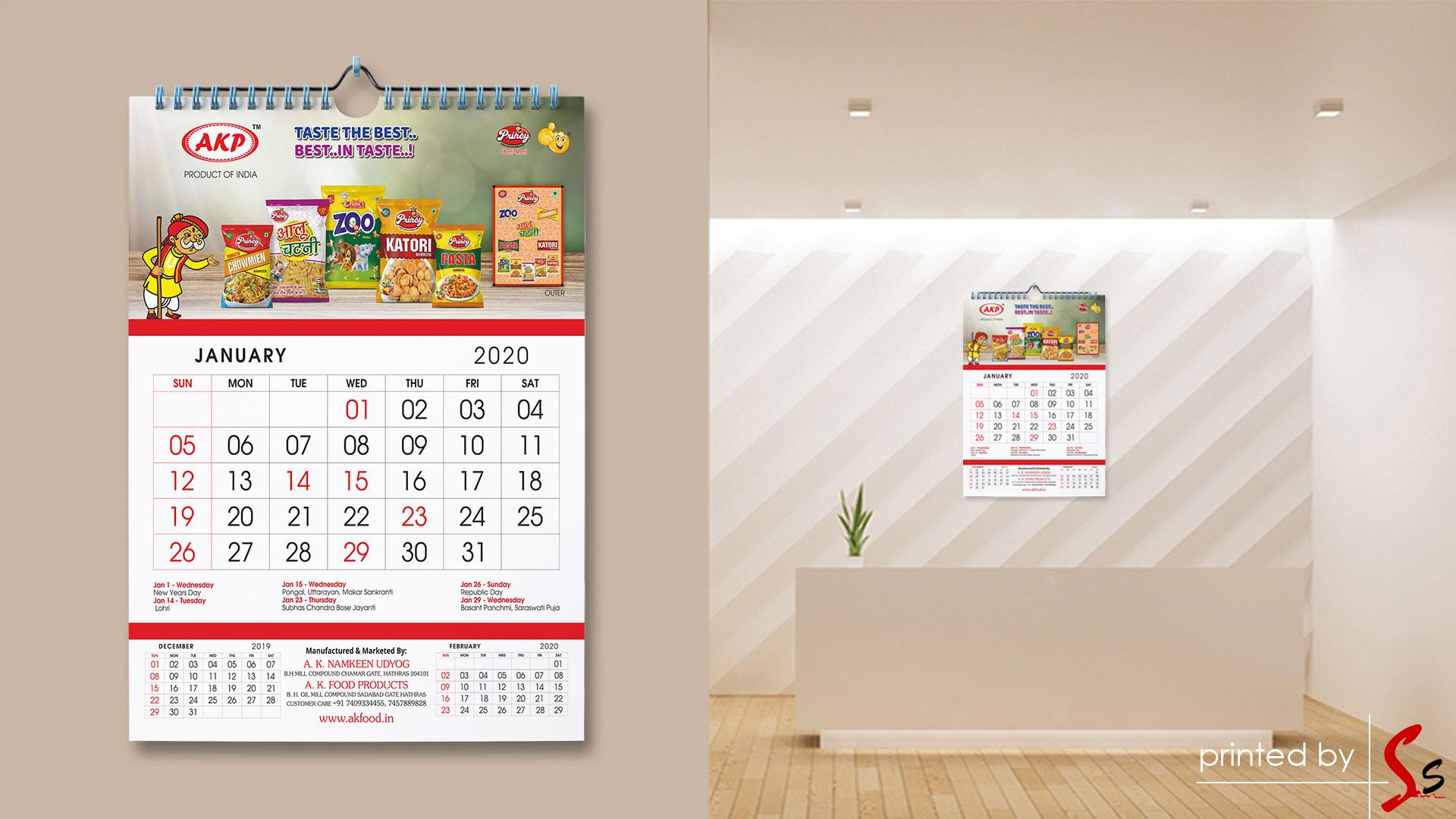 AK Food Calendar Printing