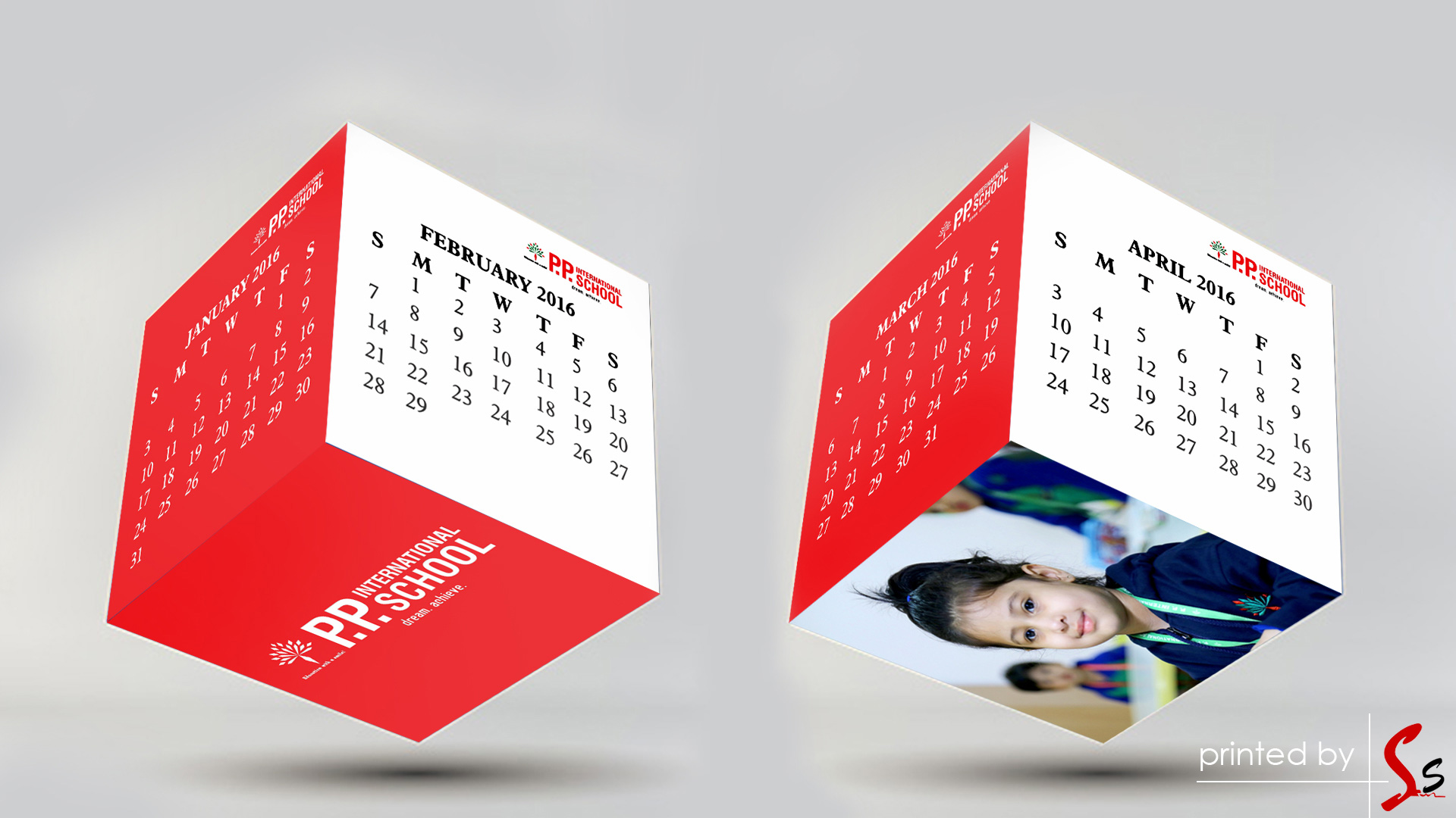 PP International School Cube Calendar Printing